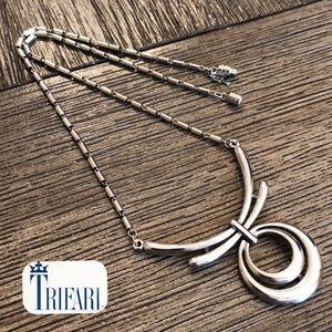 "Vintage TRAFARI Silvertone Circle Necklace 16.75"""